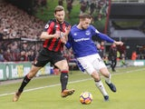 Simon Francis and Gylfi Sigurdsson in action during the Premier League game between Bournemouth and Everton on December 30, 2017