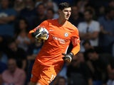 Thibaut Courtois in action for Chelsea on August 27, 2017