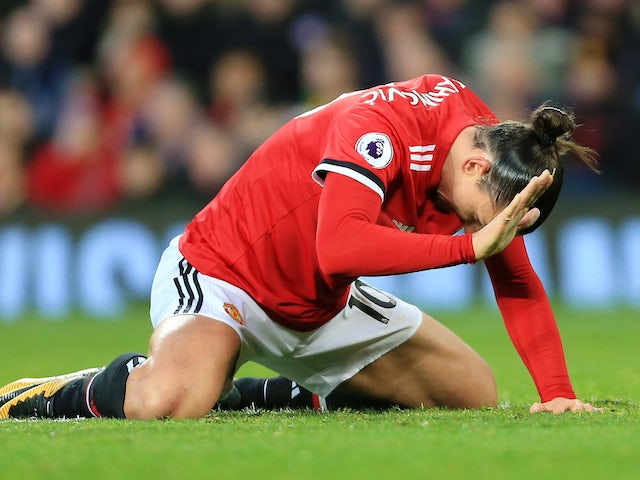 A frustrated Zlatan Ibrahimovic during the Premier League game between Manchester United and Burnley on December 26, 2017