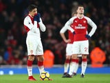 Alexis Sanchez looking dejected during the Premier League game between Arsenal and Chelsea on January 3, 2018