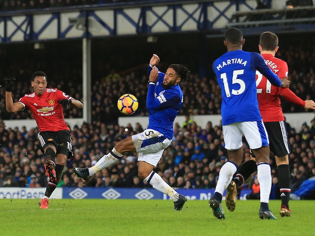 Anthony Martial scores the opener during the Premier League game between Everton and Manchester United on January 1, 2018