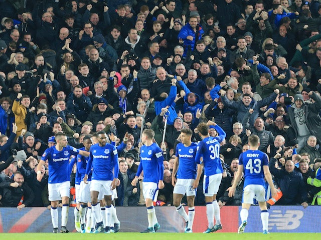 The Toffees celebrate their equaliser during the FA Cup game between Liverpool and Everton on January 5, 2018
