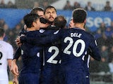 Fernando Llorente celebrates with teammates after scoring during the Premier League game between Swansea City and Tottenham Hotspur on January 2, 2018