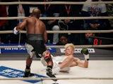 Floyd Mayweather knocks down Tenshin Nasukawa on December 31, 2018