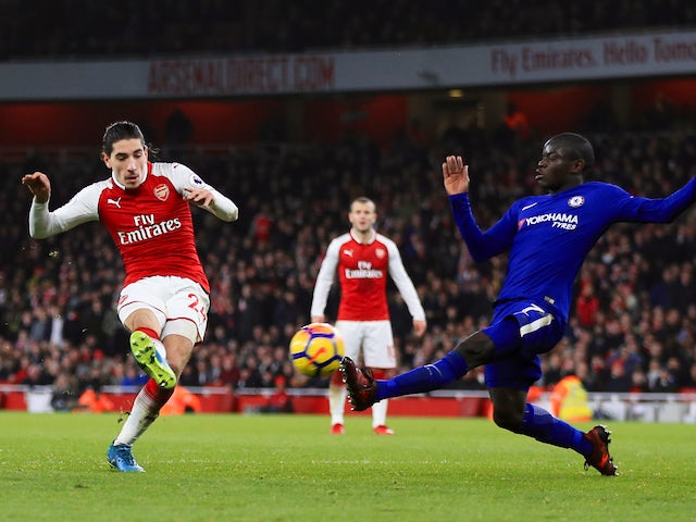 Hector Bellerin scores the Gunners' equaliser during the Premier League game between Arsenal and Chelsea on January 3, 2018