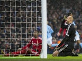 Heurelho Gomes and Christian Kabasele react to the latter's own goal during the Premier League game between Manchester City and Watford on January 2, 2018