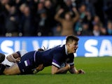 Huw Jones in action for Scotland on February 24, 2018