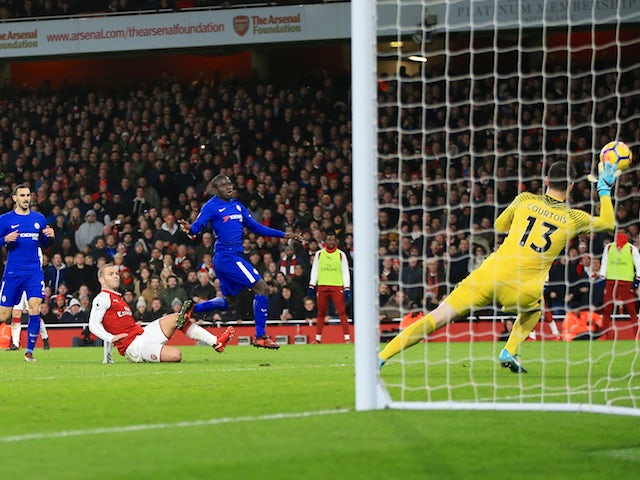Jack Wilshere scores the opener during the Premier League game between Arsenal and Chelsea on January 3, 2018