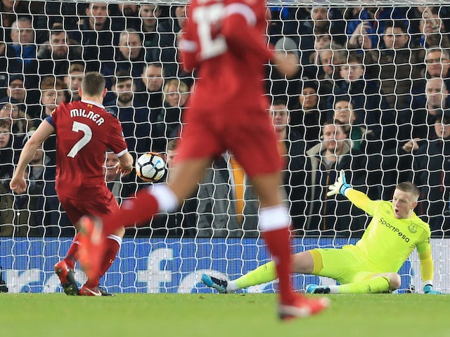 James Milner sticks it in from the spot during the FA Cup game between Liverpool and Everton on January 5, 2018