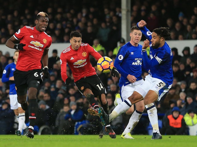 Jesse Lingard scores the second during the Premier League game between Everton and Manchester United on January 1, 2018