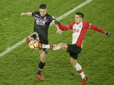 Martin Kelly and Dusan Tadic in action during the Premier League game between Southampton and Crystal Palace on January 2, 2018