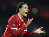 Virgil van Dijk in action for the Reds during the FA Cup game between Liverpool and Everton on January 5, 2018