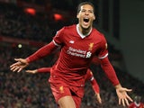 Virgil van Dijk celebrates after quite literally leaping like a salmon to score the Reds' second during the FA Cup game between Liverpool and Everton on January 5, 2018