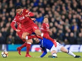 Wayne Rooney of Everton fouls Liverpool's Joe Gomez in the third round of the FA Cup on January 5, 2018