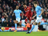 Alex Oxlade-Chamberlain scores the opener during the Premier League game between Liverpool and Manchester City on January 14, 2018