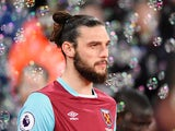 Andy Carroll pictured in action for West Ham United in March 2017