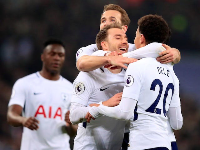 Christian Eriksen celebrates grabbing the fourth during the Premier League game between Tottenham Hotspur and Everton on January 13, 2018