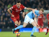Dejan Lovren and Kevin De Bruyne in action during the Premier League game between Liverpool and Manchester City on January 14, 2018