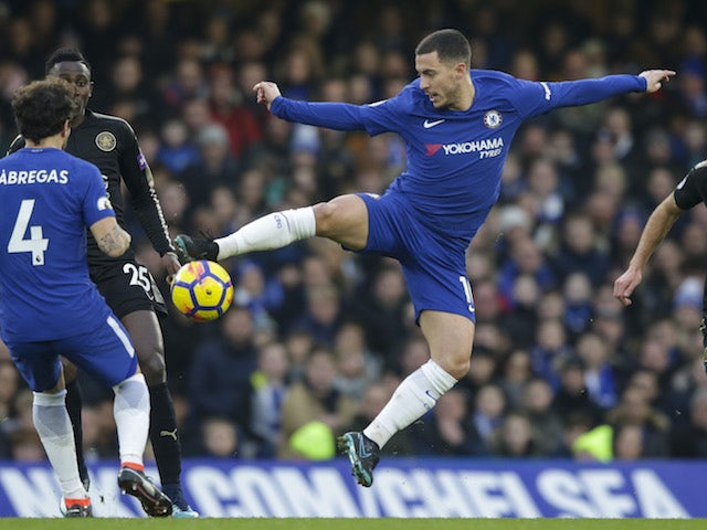 Eden Hazard in action during the Premier League game between Chelsea and Leicester City on January 13, 2018