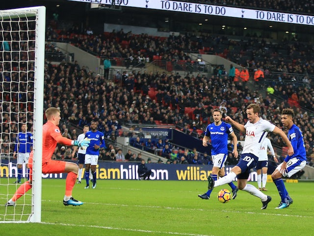 Harry Kane scores his second during the Premier League game between Tottenham Hotspur and Everton on January 13, 2018