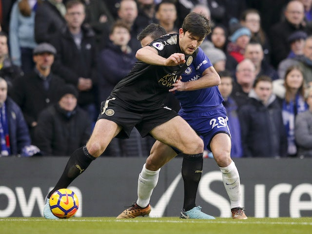 Big Harry Maguire in action during the Premier League game between Chelsea and Leicester City on January 13, 2018