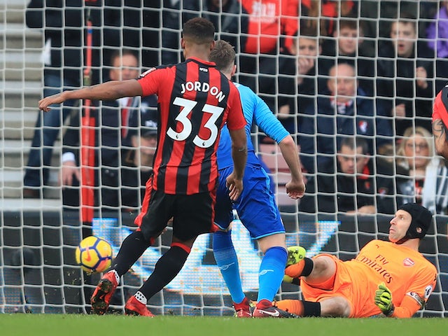 Jordon Ibe scores the Cherries' second during the Premier League game between Bournemouth and Arsenal on January 14, 2018