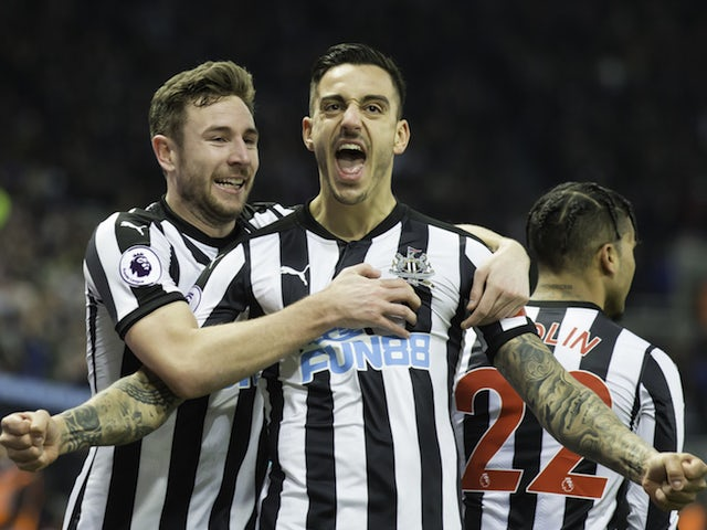 Joselu celebrates scoring during the Premier League game between Newcastle United and Swansea City on January 13, 2018