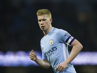 Kevin De Bruyne in action during the EFL Cup game between Manchester City and Bristol City on January 9, 2018