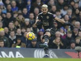 Riyad Mahrez in action during the Premier League game between Chelsea and Leicester City on January 13, 2018