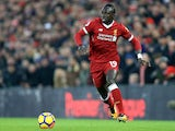 Sadio Mane in action during the Premier League game between Liverpool and Manchester City on January 14, 2018
