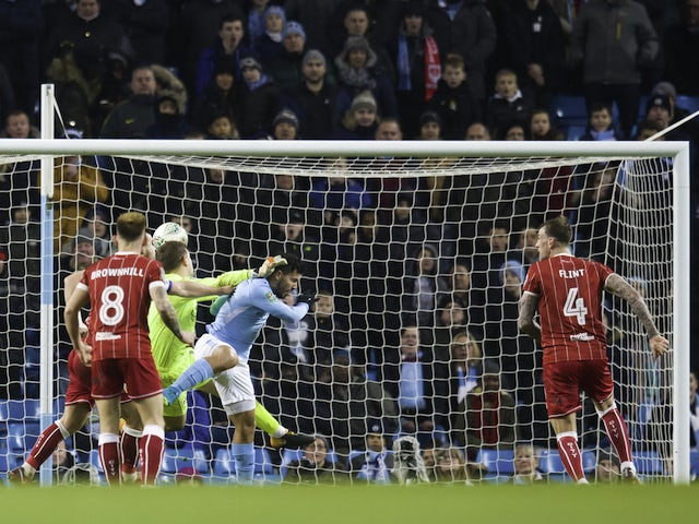 Sergio Aguero scores late on during the EFL Cup game between Manchester City and Bristol City on January 9, 2018