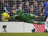 Thibaut Courtois makes a save during the Premier League game between Chelsea and Leicester City on January 13, 2018