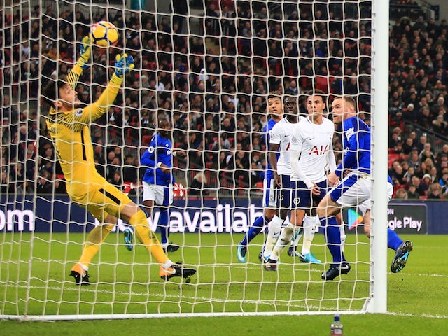Wayne Rooney has a goal disallowed during the Premier League game between Tottenham Hotspur and Everton on January 13, 2018