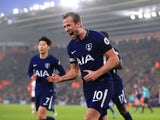 Harry Kane celebrates his equaliser during the Premier League game between Southampton and Tottenham Hotspur on January 21, 2018