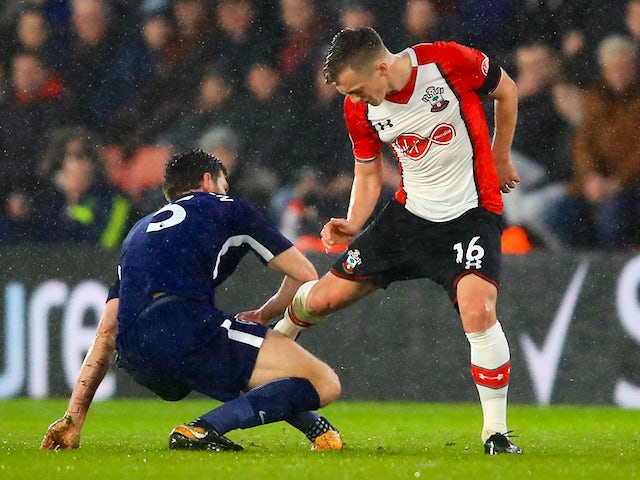 Jan Vertonghen and James Ward-Prowse in action during the Premier League game between Southampton and Tottenham Hotspur on January 21, 2018