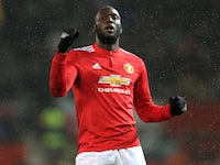 Romelu Lukaku celebrates scoring the third during the Premier League game between Manchester United and Stoke City on January 15, 2018