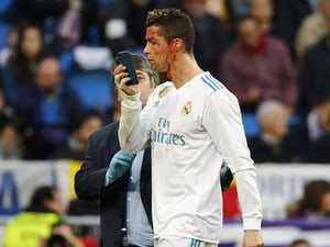Cristiano Ronaldo with a bleeding gash during the La Liga game between Real Madrid and Deportivo La Coruna on January 21, 2018
