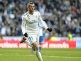 Gareth Bale celebrates scoring during the La Liga game between Real Madrid and Deportivo La Coruna on January 21, 2018