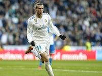 Gareth Bale celebrates scoring during the La Liga game between Real Madrid and Deportivo La Coruna on January 21, 2018