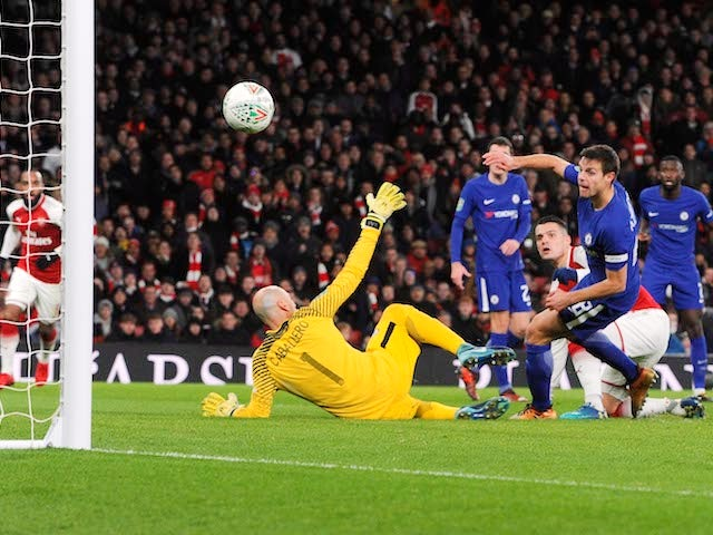 Arsenal midfielder Granit Xhaka scores the winner in his side's EFL Cup semi-final with Chelsea at the Emirates Stadium on January 24, 2018