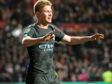 Kevin De Bruyne in action during the EFL Cup game between Bristol City and Manchester City on January 23, 2018