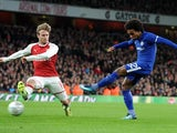Chelsea winger Willian shoots at goal during his side's EFL Cup semi-final with Arsenal at the Emirates Stadium on January 24, 2018
