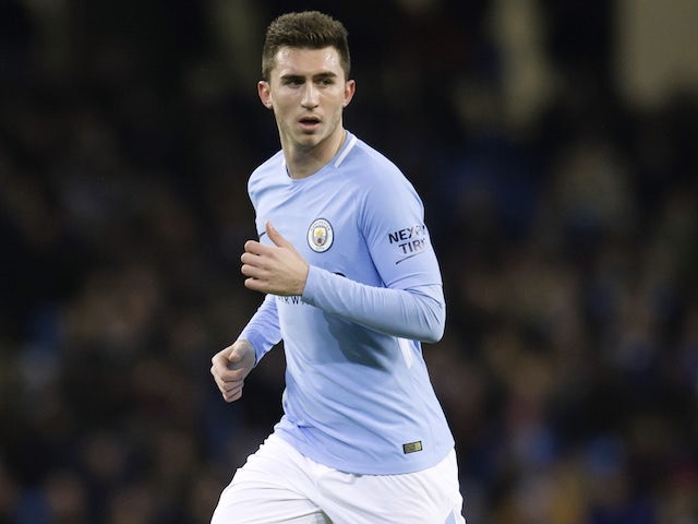 Aymeric Laporte in action for his new side during the Premier League game between Manchester City and West Bromwich Albion on January 31, 2018