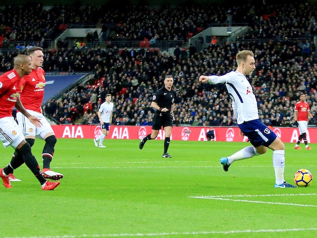 Christian Eriksen scores with just 11 seconds on the clock during the Premier League game between Tottenham Hotspur and Manchester United on January 31, 2018