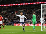 Christian Eriksen celebrates his opener during the Premier League game between Tottenham Hotspur and Manchester United on January 31, 2018