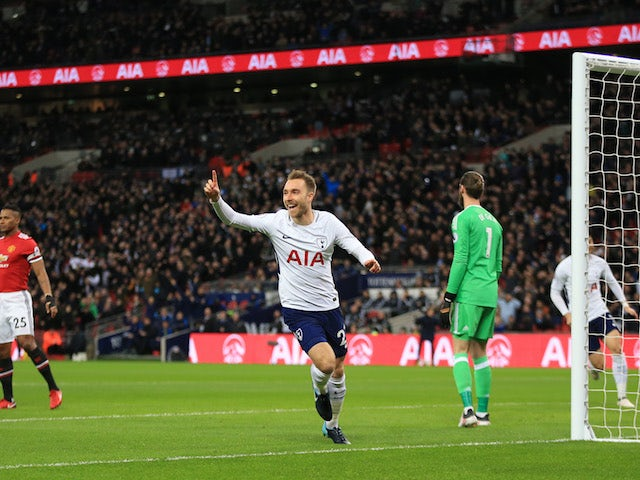 25702500ca7 Christian Eriksen celebrates his opener during the Premier League game  between Tottenham Hotspur and Manchester United
