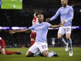 Fernandinho celebrates scoring during the Premier League game between Manchester City and West Bromwich Albion on January 31, 2018