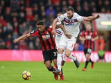 Jordon Ibe and Erik Pieters during the Premier League match between Bournemouth and Stoke City on February 3, 2018
