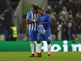 Jose Izquierdo celebrates scoring during the Premier League match between Brighton & Hove Albion and West Ham United on February 3, 2018