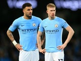Kyle Walker and Kevin De Bruyne side by side during the Premier League game between Manchester City and West Bromwich Albion on January 31, 2018
